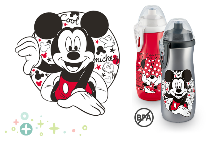 NUK Disney Mickey Mouse Sports Cup mit Push-Pull-Tülle