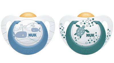 2x NUK Genius Color Latex kiefergerechter Schnuller Box 6-18 Mon Krebs//Kaktus