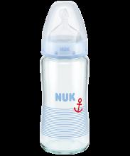 NUK First Choice Plus Glas-Babyflasche 240ml mit Trinksauger blau